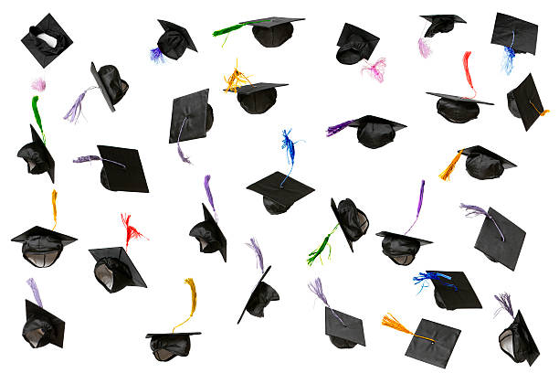 graduation caps (isolated on white) - graduation cap stock pictures, royalty-free photos & images