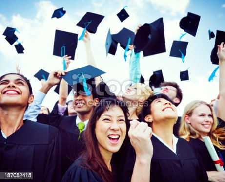 istock Graduation Caps Thrown in the Air 187082415