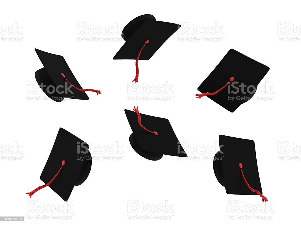 Graduation caps with red testicles on a white background royalty-free stock photo