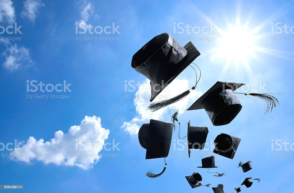 Graduation Ceremony, Graduation Caps, hat Thrown in the Air with stock photo