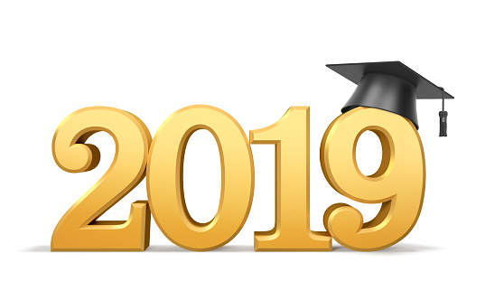 istock Graduation class of 2019 or academic year. Golden numbers (2019 date) with black graduate cap 1148812463