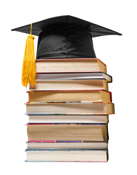 graduation concept (books with mortarboard) - graduation cap stock pictures, royalty-free photos & images