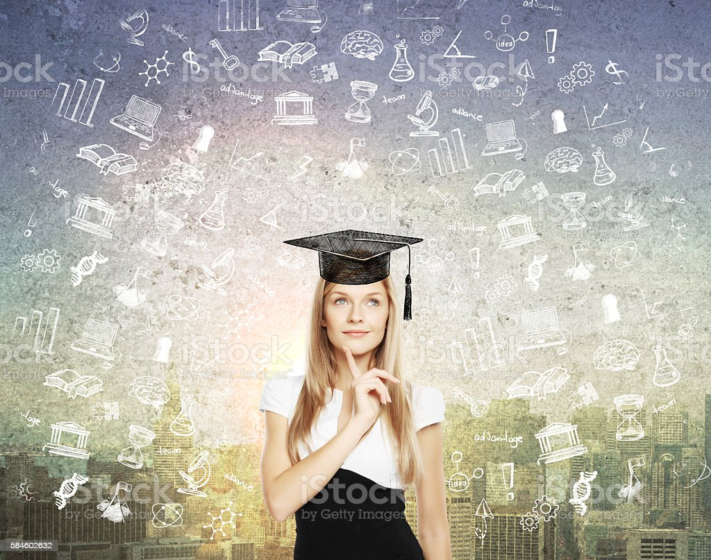 Graduation concept with sketches stock photo