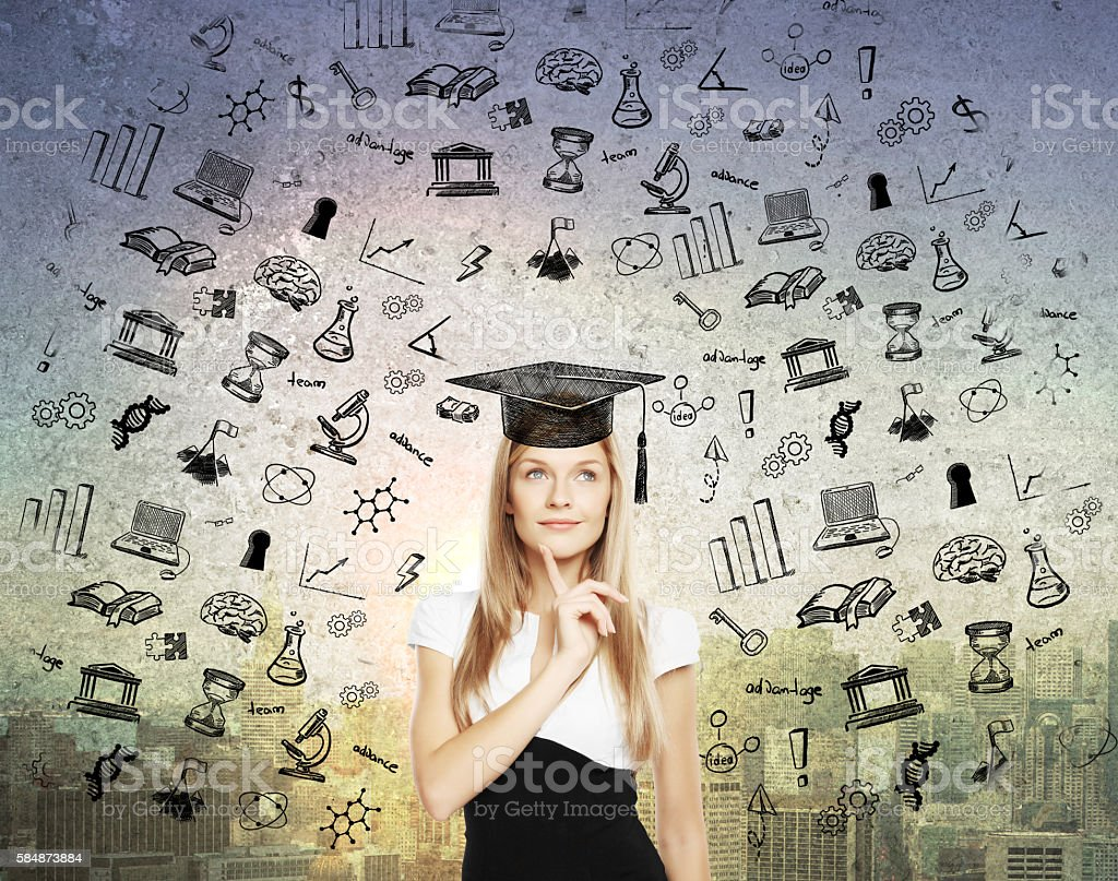 Graduation concept with thoughtful businesswoman stock photo