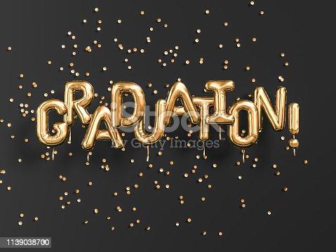 istock Graduation gold text black backgound banner.Congratulation graduates party golden balloons and confetti. 3d rendering 1139038700