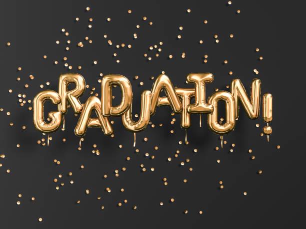 graduation gold text schwarz backgound banner. gratulation absolventinnen und absolventen feiern goldene luftballons und konfetti. 3d-rendering - danke zitate stock-fotos und bilder