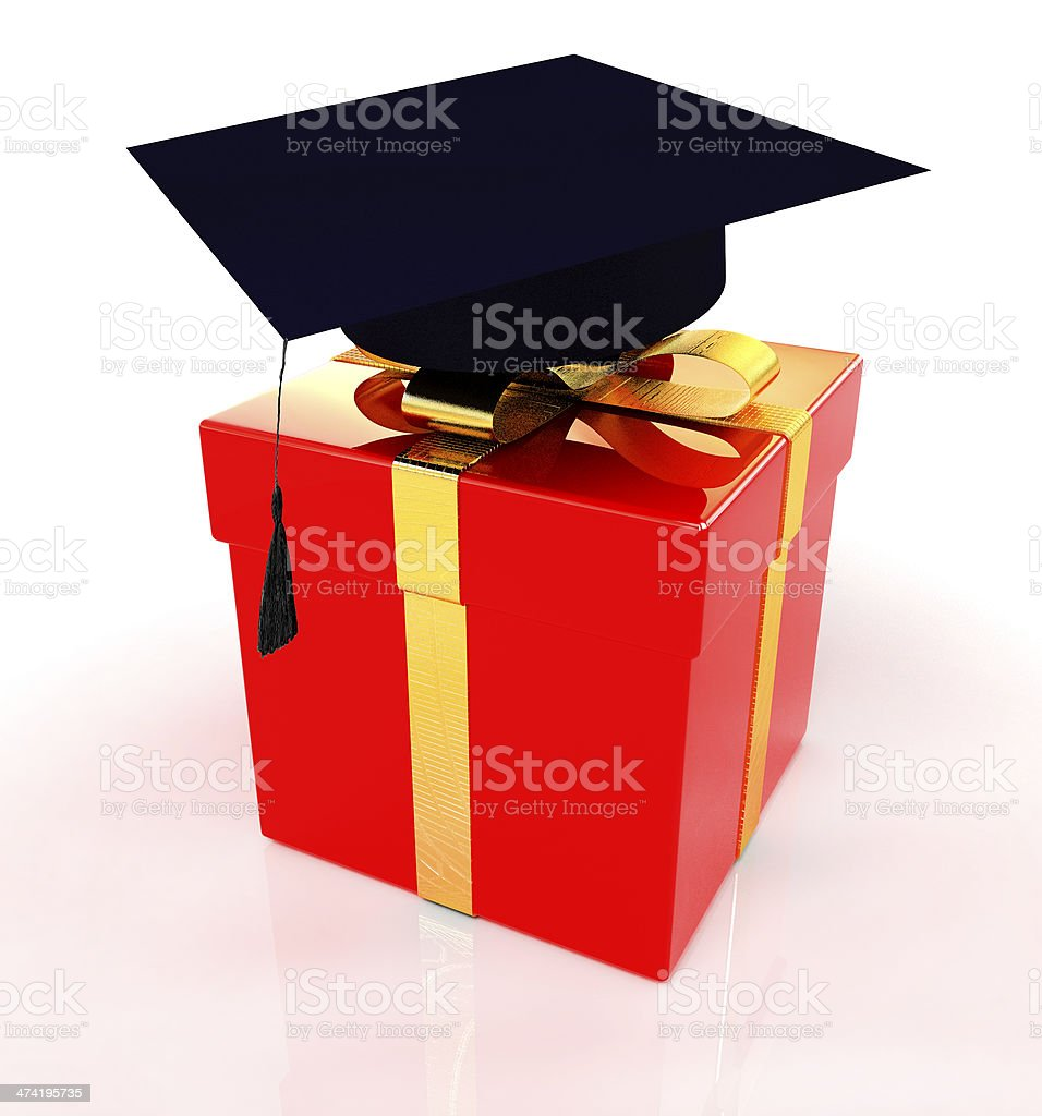 graduation hat on a red gift stock photo