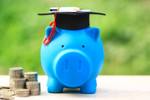 graduation hat on piggy and tack of coins money on natural green background, saving money for education concept - правописание стоковые фото и изображения