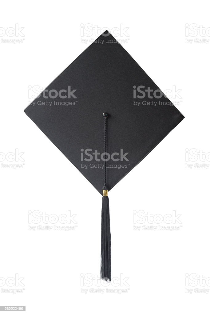 Graduation hat on white background stock photo