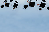 istock Graduation hat Thrown in the Air with bluesky abstract background. 1219362915