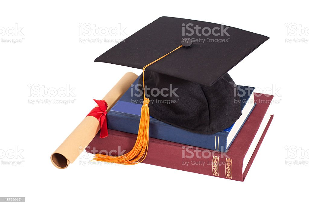 Graduation Hat with Diploma and books isolated stock photo