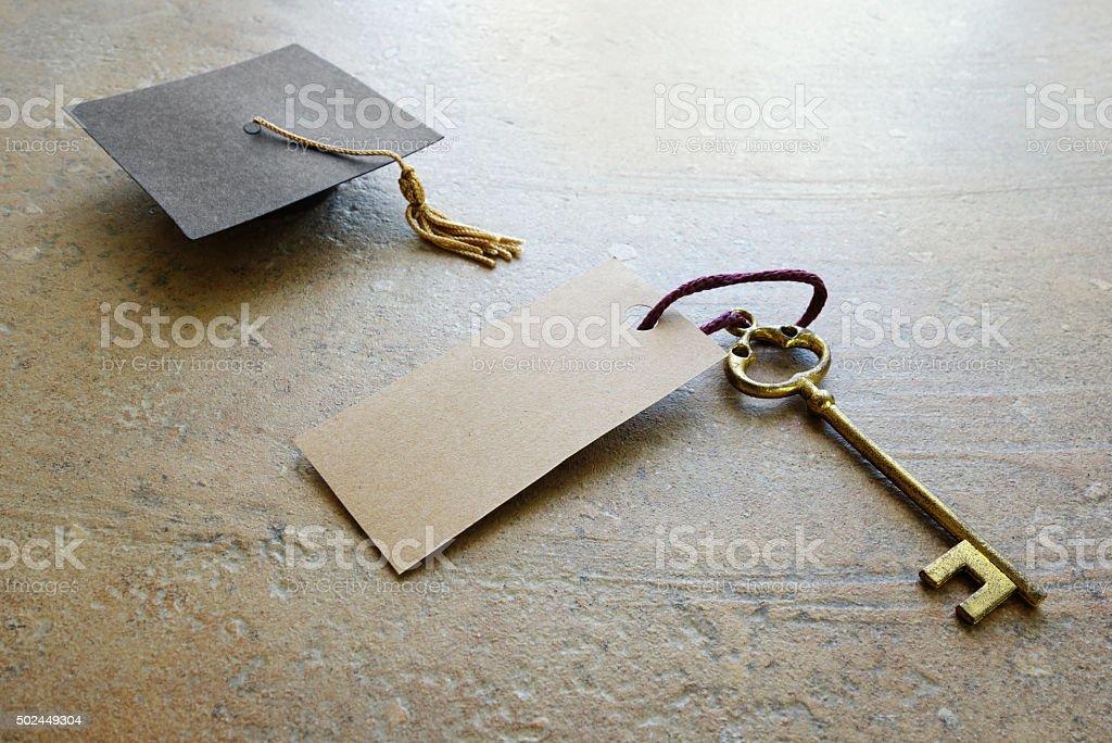 Graduation key stock photo