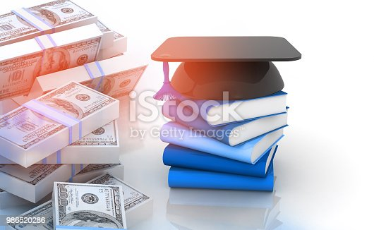 istock Graduation mortar board cap and books with stack of us dollars 986520286