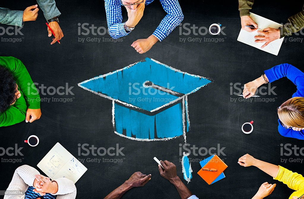 Graduation Mortar Hat Education Learning Meeting Discussion Conc stock photo
