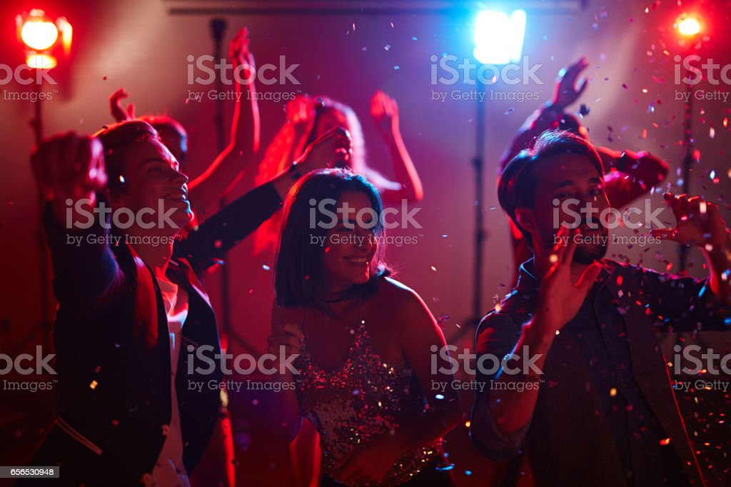Graduation party in club stock photo