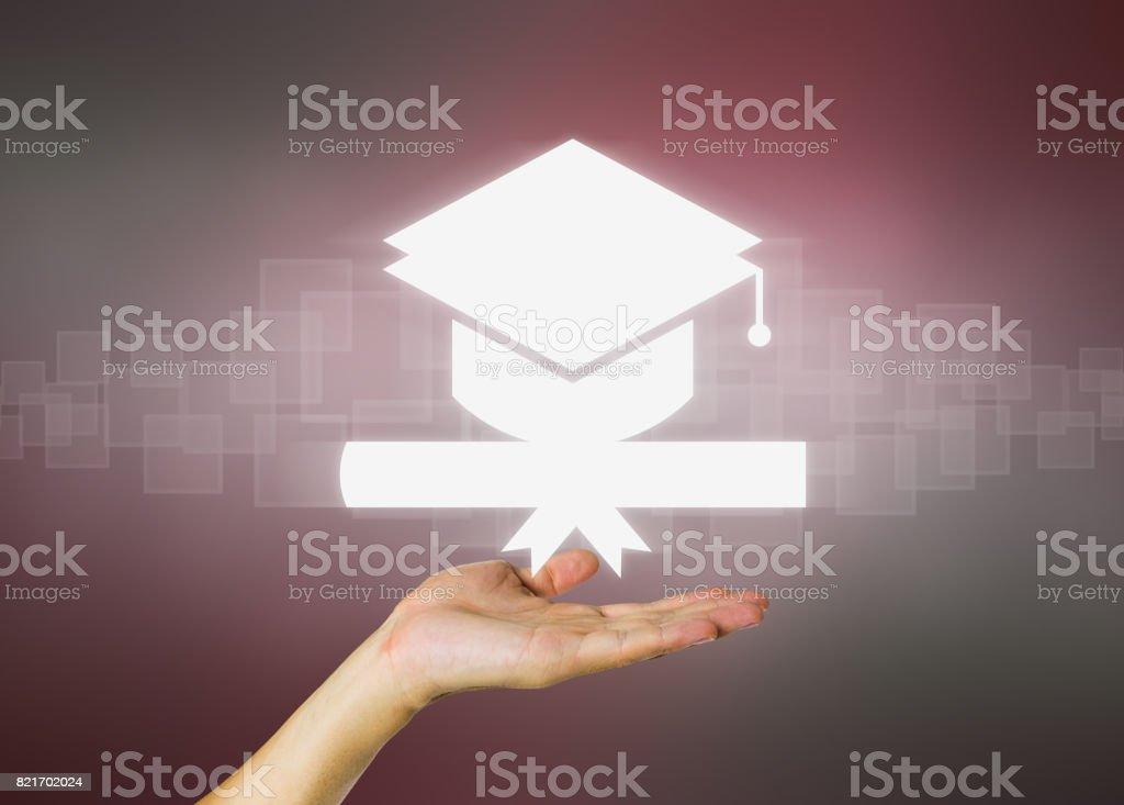 graduation Concept of graduation in dark background. Achievement Stock Photo