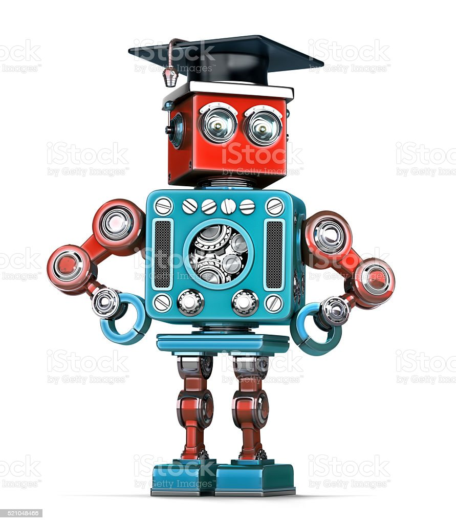 Graduation Retro Robot. Isolated. Contains clipping path stock photo