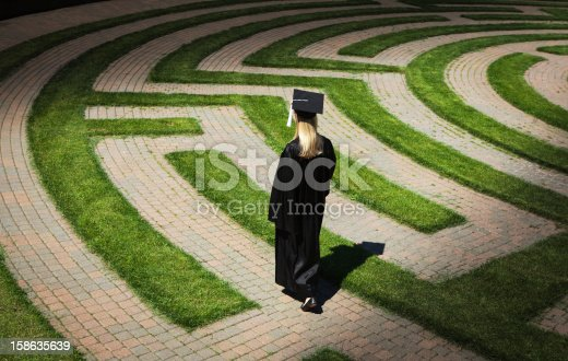 Subject: A graduating student Walking, and wondering in the puzzling maze searching for a way to her future. Concept of student facing uncertain future to their life and career.