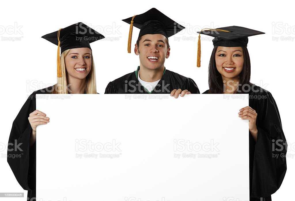Graduation Students Holding a Blank Sign royalty-free stock photo