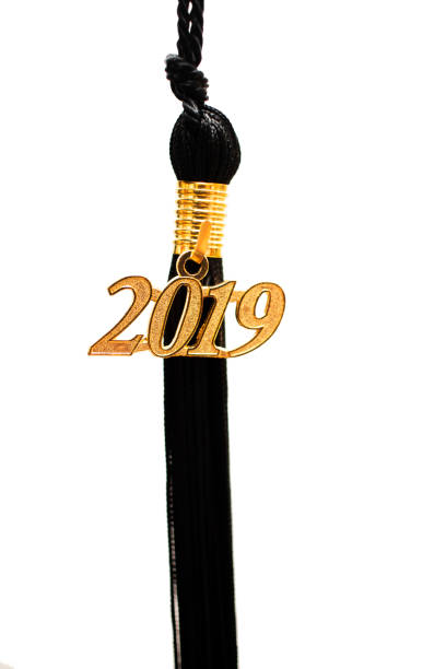 2019 Graduation Tassel 2019 Graduation Tassel isolated on white. tassel stock pictures, royalty-free photos & images