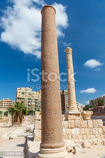 Africa, Egypt, Alexandria. Graeco Roman colums near the underground thermal baths and archways.