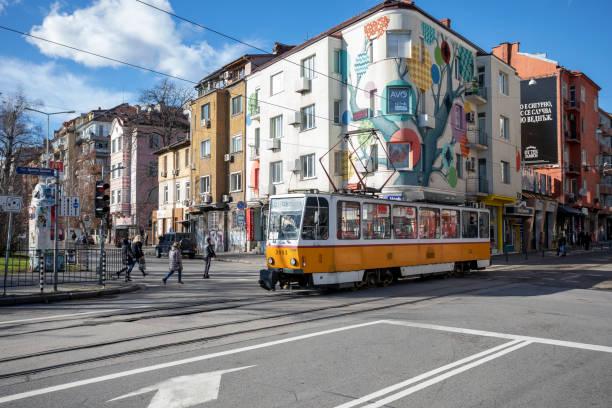 Graf Ignatiev street and tram in Sofia. stock photo