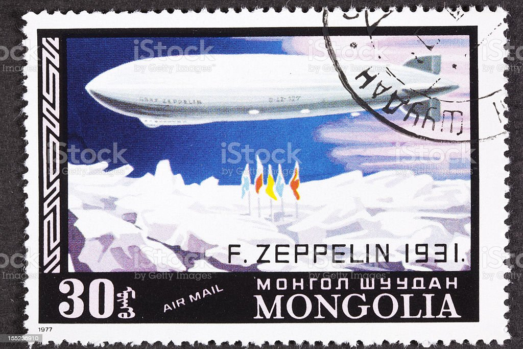 Graf Zeppelin Flight North Pole Mongolian Air Mail Postage Stamp Royalty Free Stock Photo