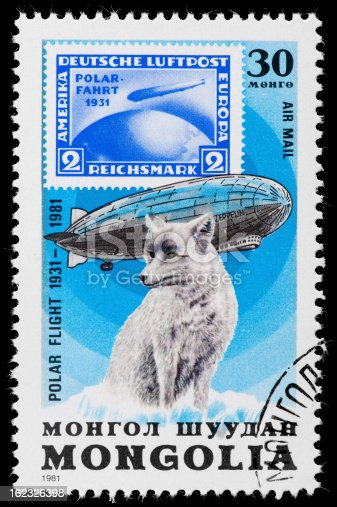 Vintage Postage Stamp with Graf Zeppelin and Polar Fox, from the series