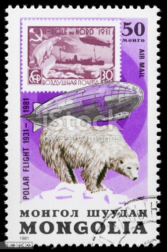 Vintage Postage Stamp from Mongolia featuring  Graf Zeppelin & Polar Bear from the series