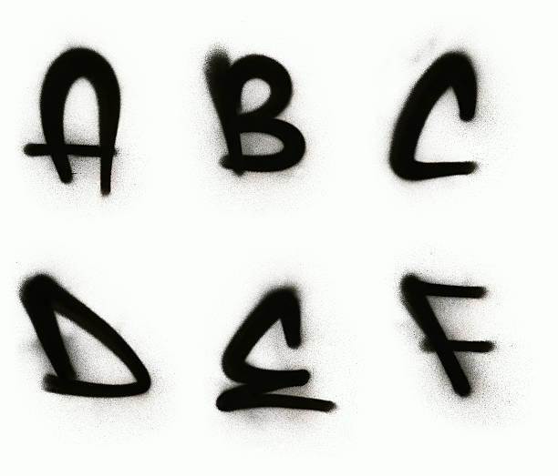 graffiti alphabet a-f - schlechte laune sprüche stock-fotos und bilder