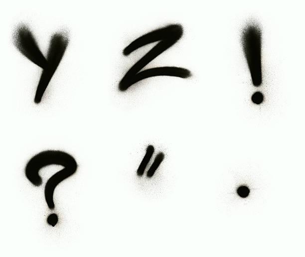 graffiti alphabet y-z par un signe de ponctuation - élément graphique photos et images de collection