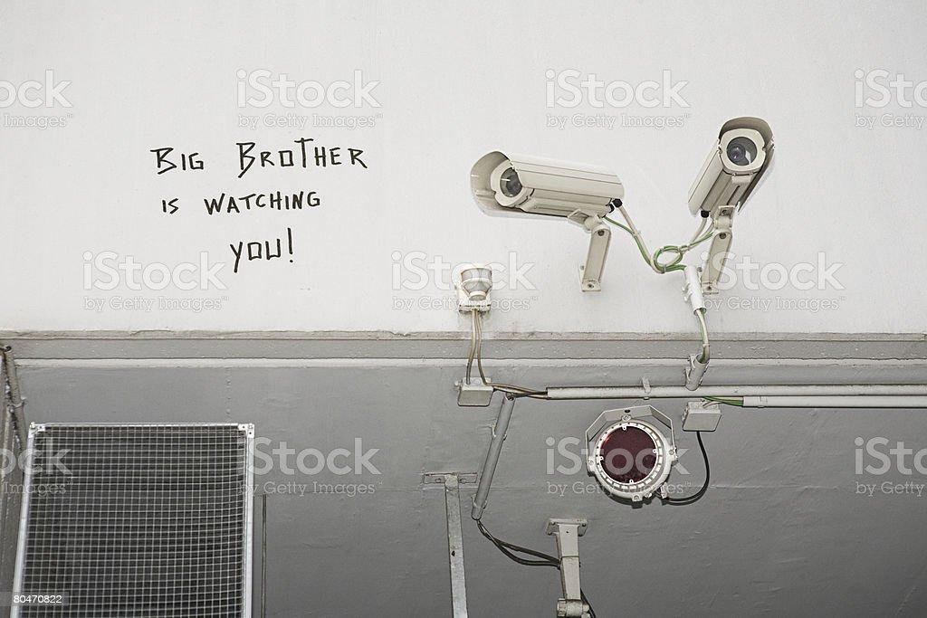 Graffiti and surveillance cameras royalty-free stock photo