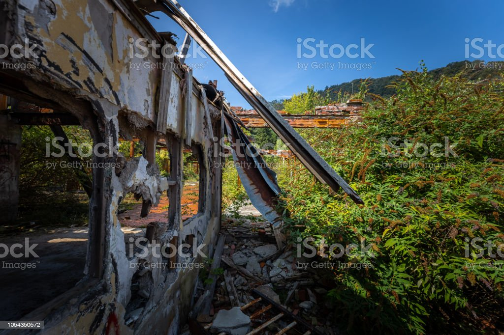 Graffiti and views of the abandoned city of Consonno (Lecco, Italy) stock photo