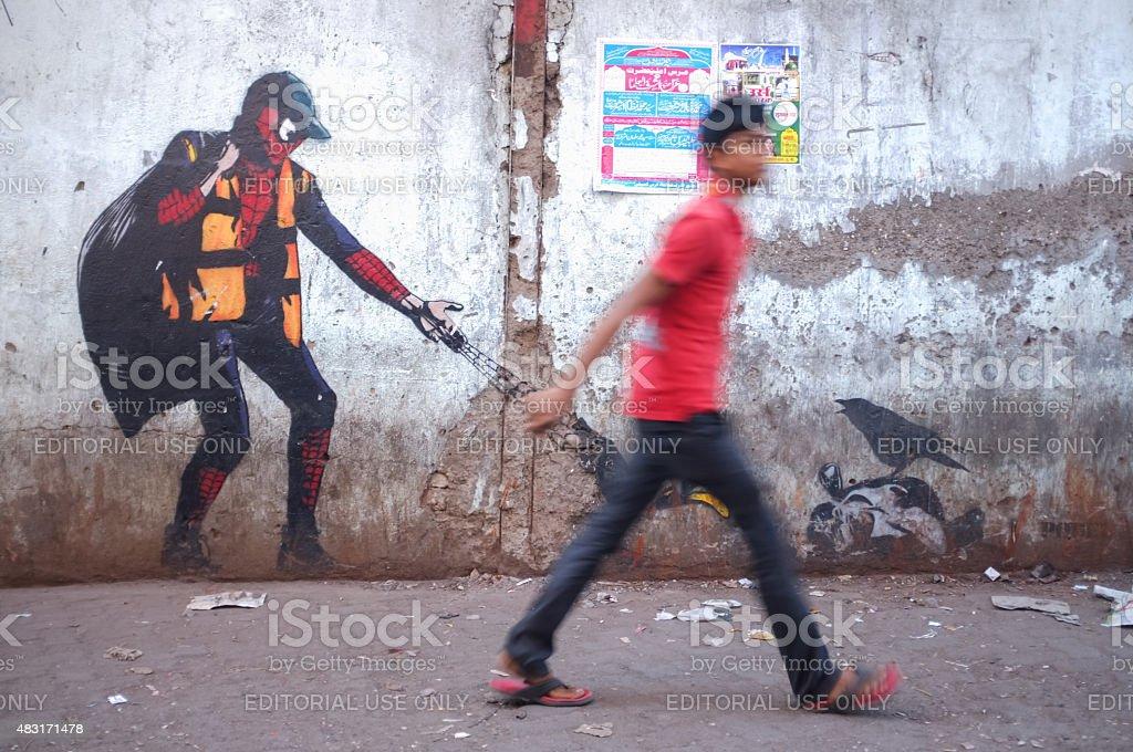 Graffiti art in Mumbai slum stock photo