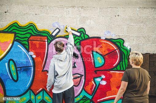 istock Graffiti Artist at Work 874327830