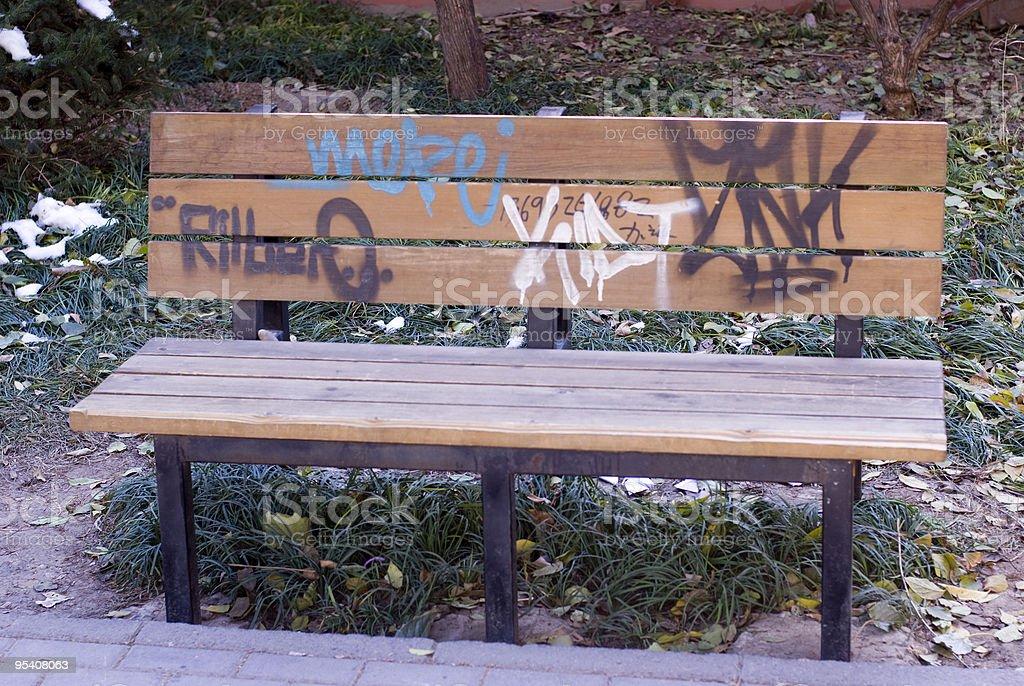 Graffiti Bench in Beijing royalty-free stock photo