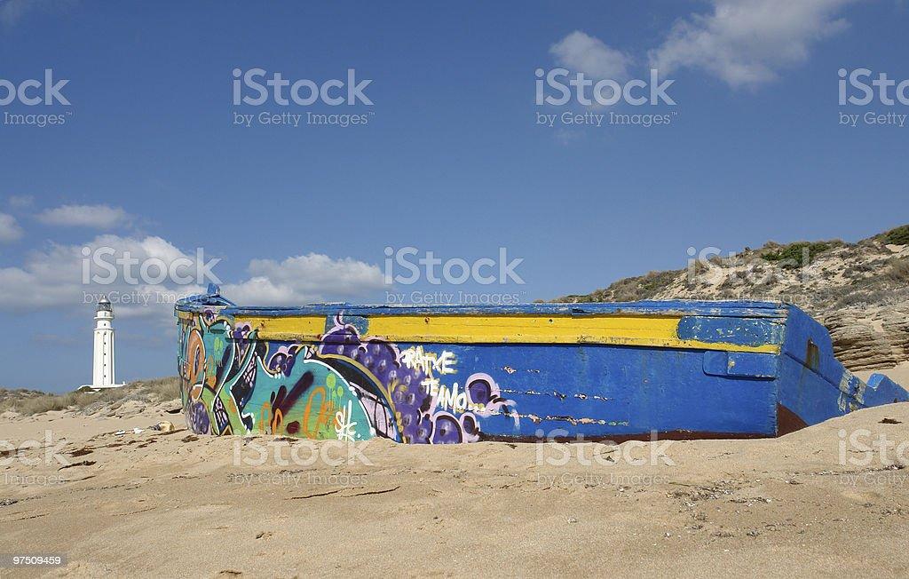 graffiti boat royalty-free stock photo