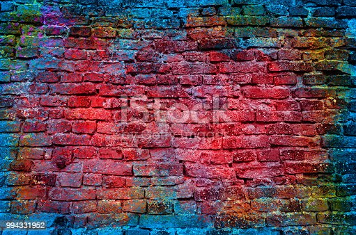 Paint splash, graffiti brick wall, colorful background