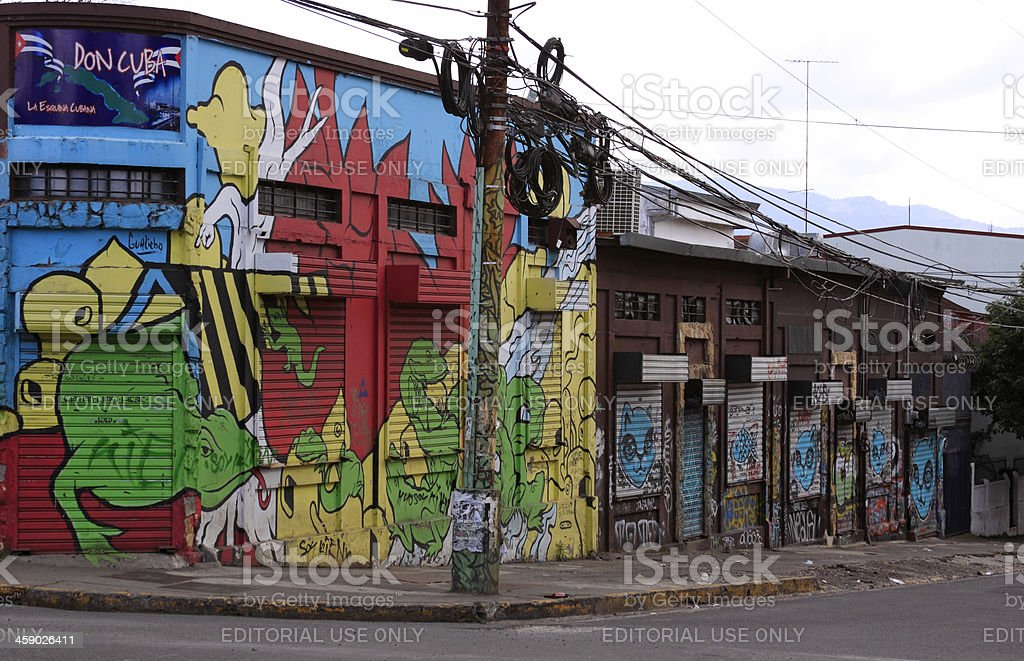 "Graffiti buildings ""San Jose, Costa Rica - December 30 2012: Buildings covered by graffiti art in downtown of San Jose, Costa Rica."" Animal Stock Photo"