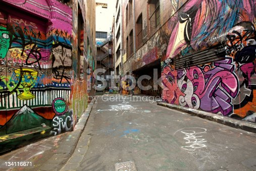 Graffiti-covered walls in old alley.  Hosier Lane, Melbourne, Australia.