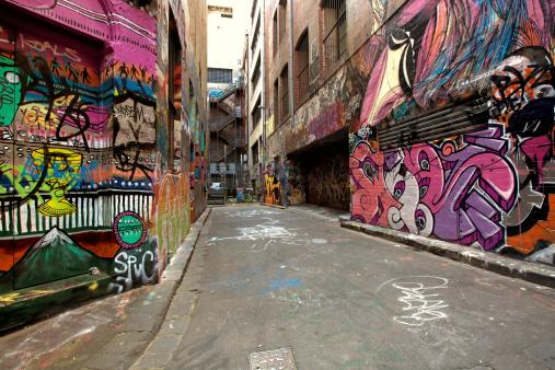 Graffiti-covered walls in old alley.  Hosier Lane, Melbourne, Australia.