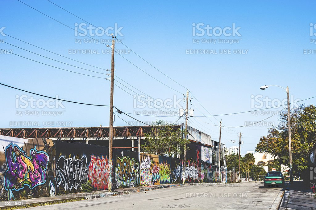 Graffiti covered walls. stock photo