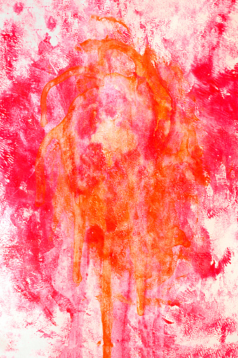 Red Graffiti grunge spray design element abstract texture background.