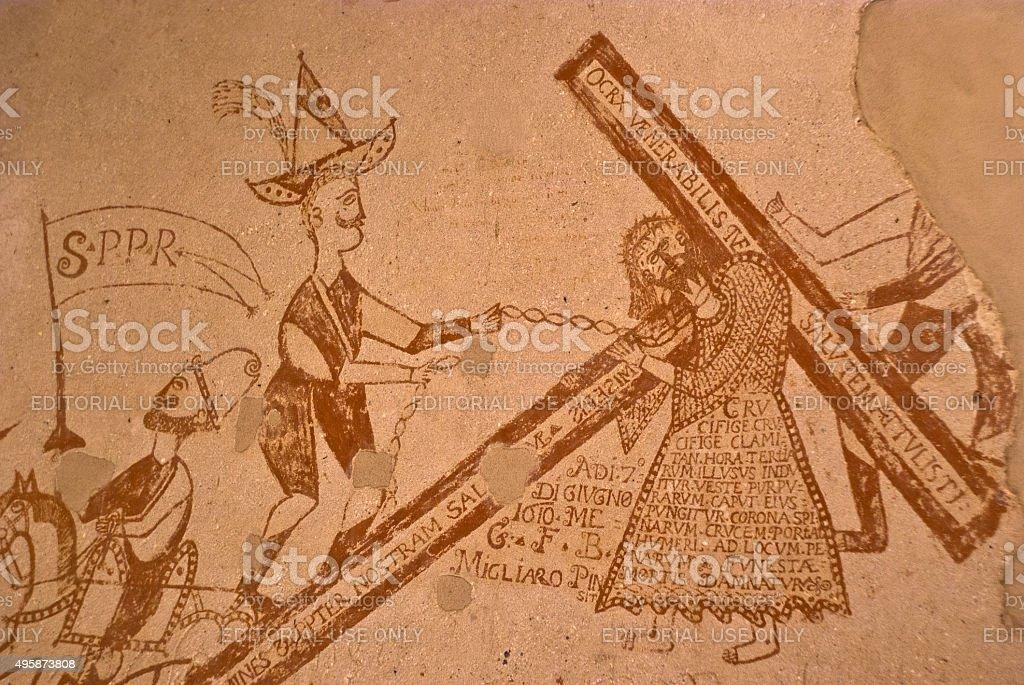 graffiti nei sotterranei della Inquisizione a Palermo - foto stock