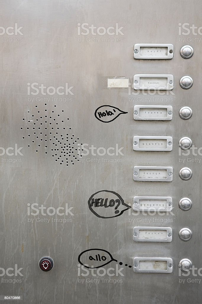 Graffiti near doorbells 免版稅 stock photo