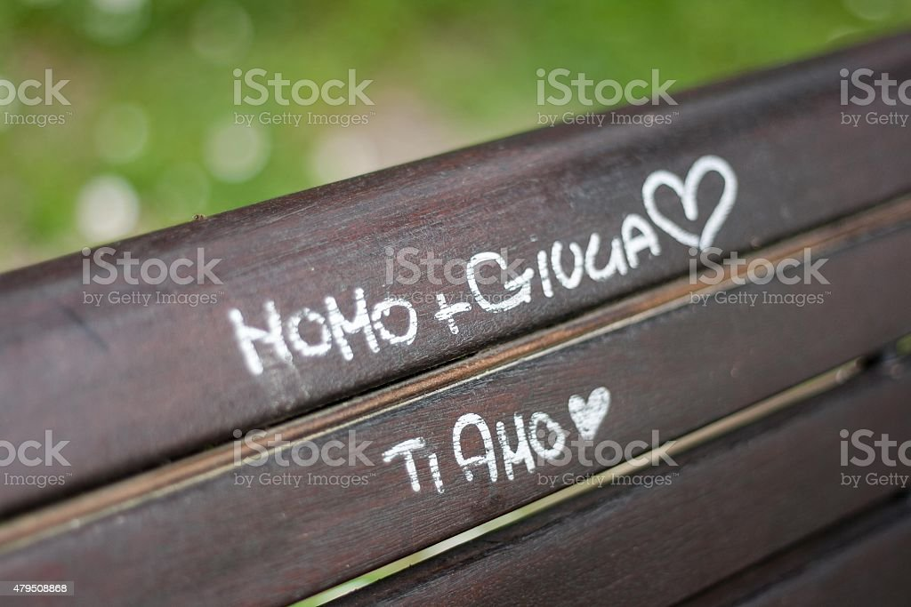 Graffiti on a bench royalty-free stock photo
