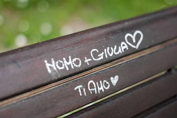 Graffiti on a bench stock photo