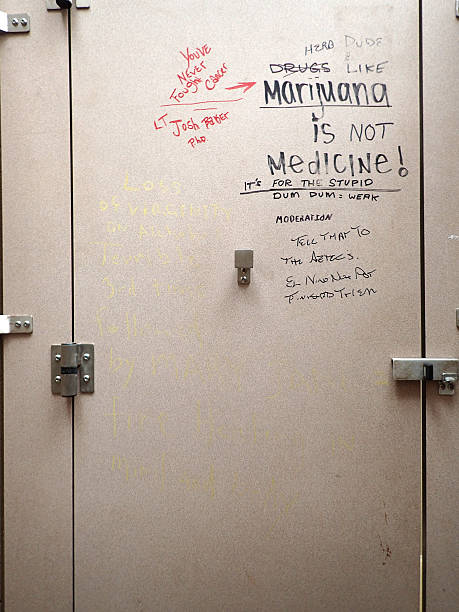 Graffiti on Bathroom stall door stock photo