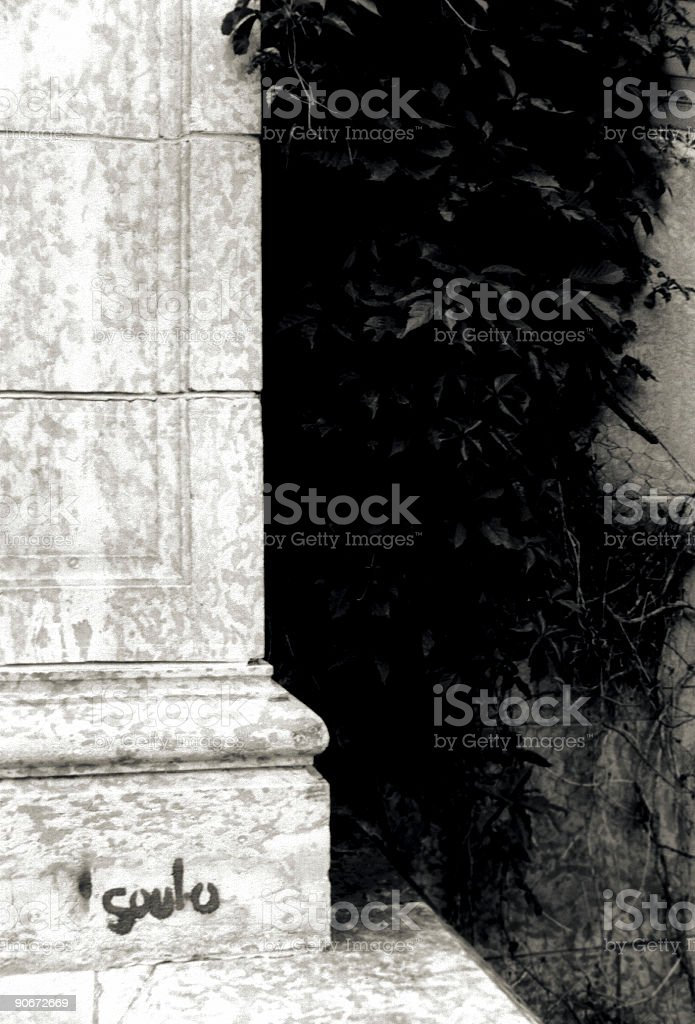 Graffiti on Marble Pillar royalty-free stock photo