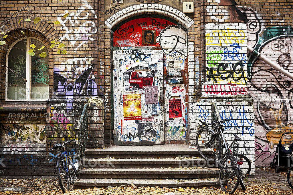 Graffiti on Occupied Palace in Berlin, Germany stock photo